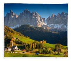 St. Magdalena Alpine Village In Autumn Fleece Blanket