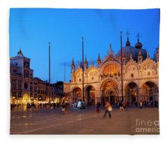 St Mark's Square And The Basilica At Night In Venice Italy Fleece Blanket