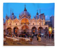 St Mark's Square And The Basilica At Night In Venice Fleece Blanket