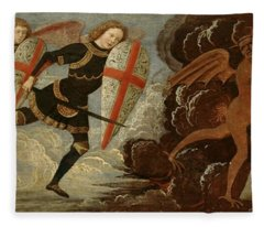 St. Michael And The Angels At War With The Devil Fleece Blanket
