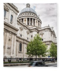 St Pauls Cathedral With Black Taxi Fleece Blanket