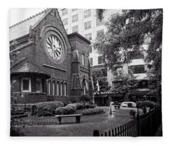 St. Peter's Episcopal Church In Black And White Fleece Blanket
