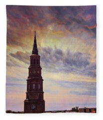 St. Philips Sky In Charleston Fleece Blanket