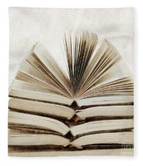 Stack Of Open Books Fleece Blanket