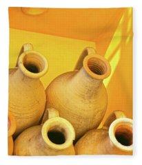 Stacked Yellow Jars Fleece Blanket