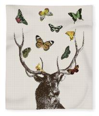 Stag And Butterflies Fleece Blanket