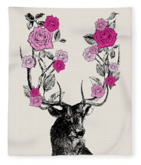 Stag And Roses Fleece Blanket
