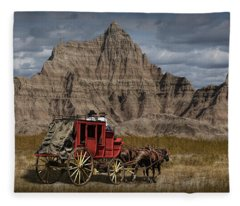 Stage Coach In The Badlands Fleece Blanket