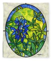 Stained Glass Bluebonnet Fleece Blanket