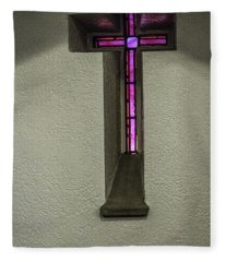 Stained Glass Cross Fleece Blanket