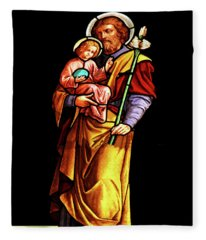 Stained Glass Jesus And Joseph Fleece Blanket