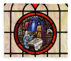 Stained Glass Nativity Window Fleece Blanket
