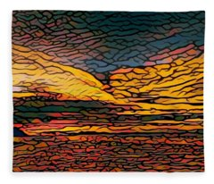 Stained Glass Sunset Fleece Blanket
