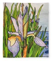 Stained Iris Fleece Blanket