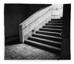 Staircase And Landing Bw Parking Structure Fleece Blanket
