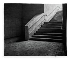 Staircase Into Light Bw Parking Structure Fleece Blanket