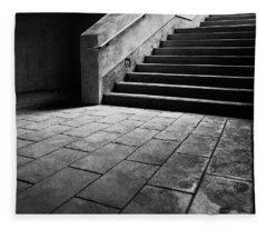 Stairs To The Top Bw Parking Structure Fleece Blanket