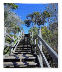 Stairway To Beach Fleece Blanket