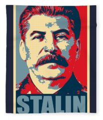 Stalin Propaganda Poster Pop Art Fleece Blanket