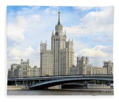Kotelnicheskaya Embankment Building Fleece Blanket