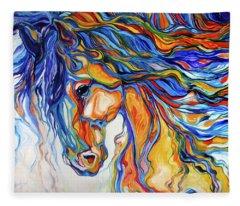Stallion Southwest By M Baldwin Fleece Blanket