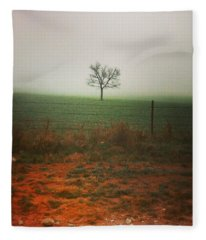 Standing Alone, A Lone Tree In The Fog. Fleece Blanket