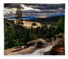 Standing At Eagle Falls Fleece Blanket