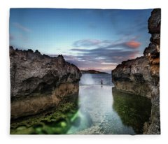 Fleece Blanket featuring the photograph Standing At The Tip Of Sea by Pradeep Raja Prints
