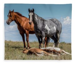 Standing Watch Over The Foals Fleece Blanket