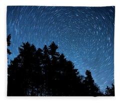 Star Trails In Acadia Fleece Blanket