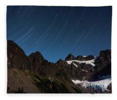 Star Trails, Mount Shuksan Fleece Blanket