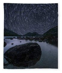 Star Trails Over Jordan Pond Fleece Blanket