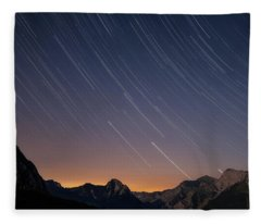Star Trails Over The Apuan Alps Fleece Blanket
