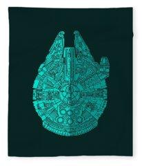 Star Wars Art - Millennium Falcon - Blue 02 Fleece Blanket