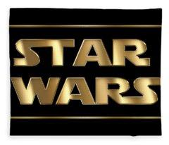 Star Wars Golden Typography On Black Fleece Blanket