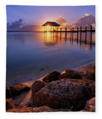 Starburst Sunset Over House Of Refuge Pier In Hutchinson Island At Jensen Beach, Fla Fleece Blanket