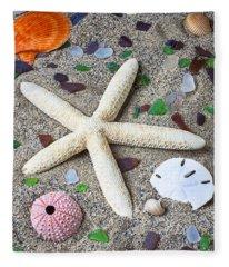 Starfish Beach Still Life Fleece Blanket