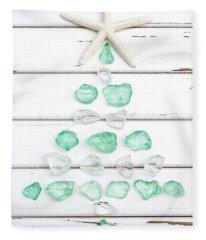 Starfish Christmas Tree Fleece Blanket