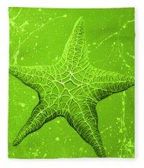 Starfish In Green Fleece Blanket