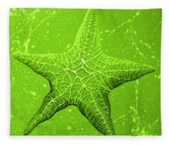 Starfish In Green Fleece Blanket