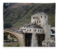 Stari Most Ottoman Bridge And Embankment Fortification Mostar Bosnia Herzegovina Fleece Blanket