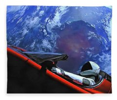 Starman In Tesla With Planet Earth Fleece Blanket