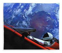 Starman In Tesla With Planet Earth Fleece Blanket