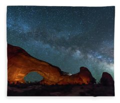 Starry Night At North Window Rock Fleece Blanket