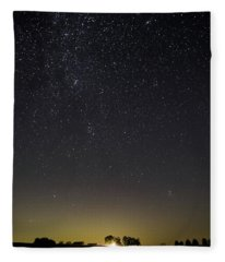 Starry Sky Over Virginia Farm Fleece Blanket