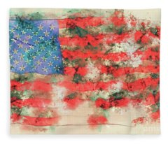 Stars And Stripes Watercolor Fleece Blanket