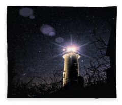 Stars Over Nobska Lighthouse Fleece Blanket