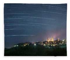 Startrails Over San Gimignano Fleece Blanket
