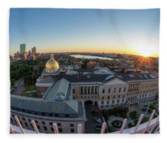 State House,fisheye View Fleece Blanket