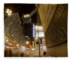State Street Night Scene Fleece Blanket